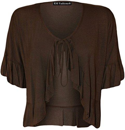 Rimi Hanger Women's Plus Size Frill Tie Bolero Shrug Cardigan - Brown - US 16 (UK 20) ()