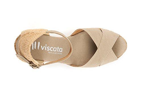 Beige 3 Moda Aperta Spagna Punta Cuneo Viscata Espadrillas Caviglia Realizzato cinghia Tallone Aiguablava In OqU5nWC