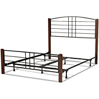 Dayton Complete Bed with Metal Panels and Flat Wooden Posts, Black Grain Finish, California King