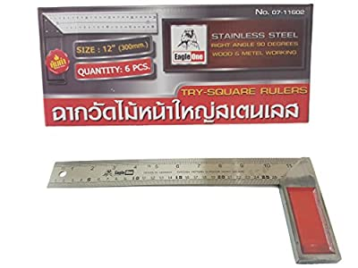Prasertsteel TRY-SQUARE Rulers Products Engineering Corporation 12-inch Premium Solid Machinist Square Hardened Carbon Steel