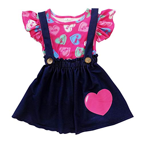 So Sydney Suspender & Skirt 2 Piece Outfit, Girls Toddler Winter & Spring Holiday Dress Up Boutique Outfit (6 (XL), Denim Candy Heart)