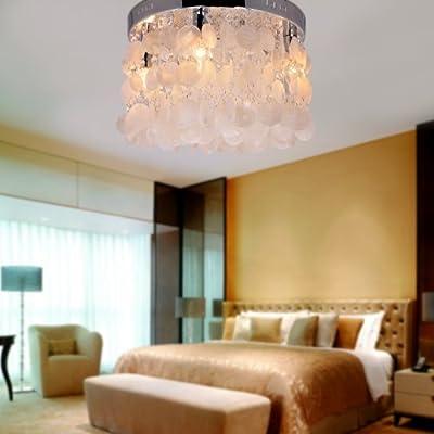 lightinthebox modern white shell crystal home ceiling light fixture flush mount pendant light chandeliers lighting for bedroom living room close to