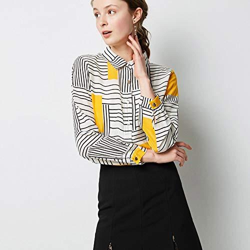 Camisa Larga Casual Contraste Polo De Manga Mujer Seda Gasa Aibab Solo Suelta Raya Yellow Pecho Solapa 0dw6TqO