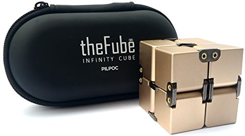 PILPOC theFube Fidget Cube Infinity Cube Desk Toy - Premium Quality Aluminum Infinite Magic Cube with Exclusive Case, Sturdy, Heavy, Relieve Stress and Anxiety, for ADD, ADHD, OCD (Gold)