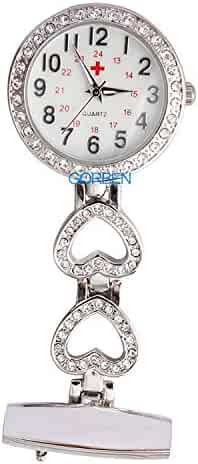 Womens Mens Heart Steel Crystal Nurses Pocket Watches Fob Watches,Doctor Paramedic Tunic Brooch Clip On Watch