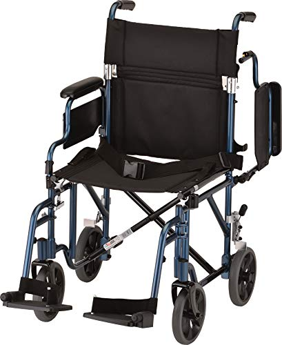 NOVA Lightweight Transport Chair with Removable & Flip Up Arms for Easy Transfer, Blue ()