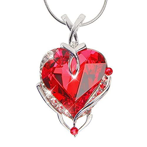 crystal for pendant red shape women plated com gold necklaces slp tyjewelry heart amazon