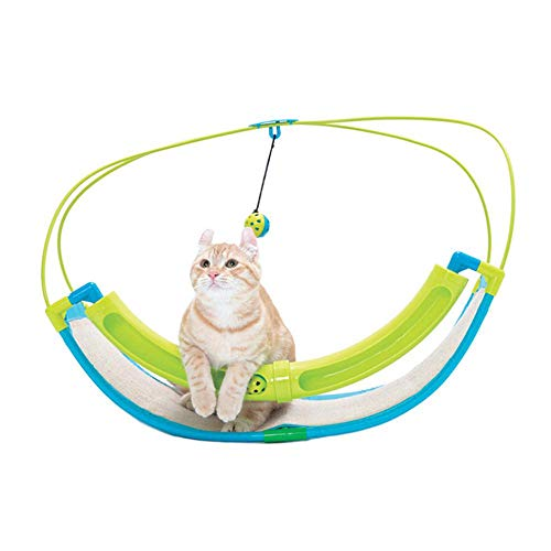 MOGOI Interactive Cat Toy Rocking Activity Bed, Cat Swing Playing Pad/Mat with Sisal Scratching Area, Hanging Bell and Rolling Ball for Cats/Kittens, Easy to Assemble