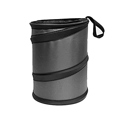 FH Group FH1121GRAY Compact Size Auto Car Trash Can Portable Collapsible Car Trash Can Waterproof Garbage Container Small, Gray Color: Automotive
