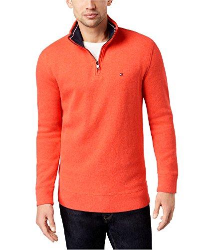 (Tommy Hilfiger Mens Ribbed Quarter-Zip Pullover Sweater Orange 3XL)