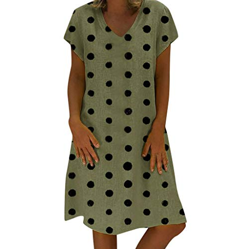 Women's Casual Linen Polka Dot V-neck Loose Summer Holiday Beach Mini Dress(Green,S)