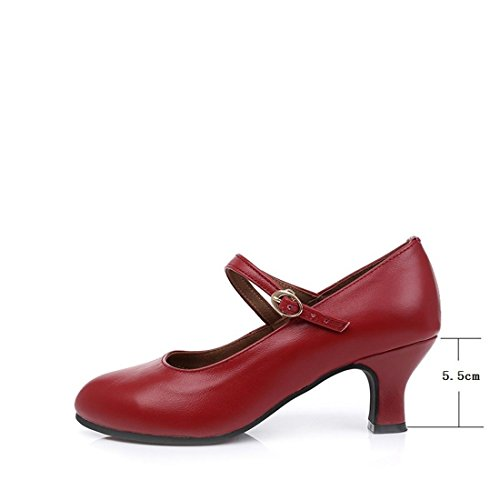 Dance Leather Adult Soft Shoes Bottom Women's Leather Soft WXMDDN Shoes Square Shoes Dance Ballroom Shoes Red Dance Dancing Brick Latin 7wx4Zp