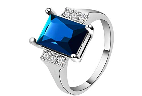 Yuren 925  Sterling Silver Blue Sapphire Crystal Ring Women's 10Kt White Gold Filled Wedding Topaz Promise Princess Cut Gemstone Ring(Size6-10) (US Code 9)