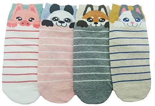 - JJMax Women's Sweet Animal Cotton Blend Socks Set One Size Fits All (Peekaboo Animals)