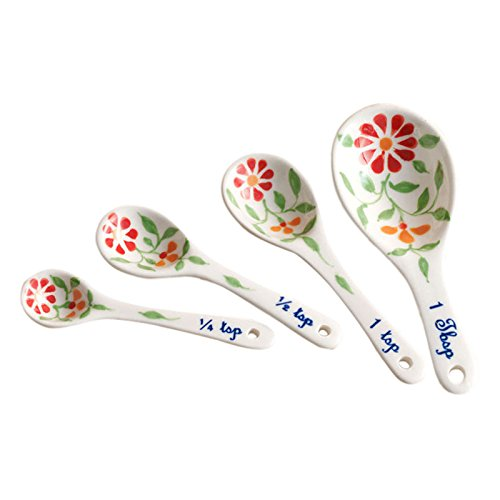 The Crabby Nook Measuring Spoons Ceramic Exotic Flower Design