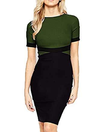 WOOSEA Women's Elegant Colorblock Wear to Work Cocktail Party Pencil Dress (Small, Army Green)