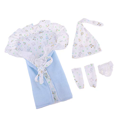 Baoblaze Cotton Floral Hat Blanket Underpants Socks Suit For 26-28cm/ 10-11inch Newborn Baby Doll Accs ()
