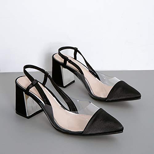 HBDLH Damenschuhe Sommer 2019 Modisch 7Cm Heel Sandalen 100 Sätze Dicke Dicke Sätze Schuhe Baotou Sexy Transparent Einzelne Schuhe 1f73f6
