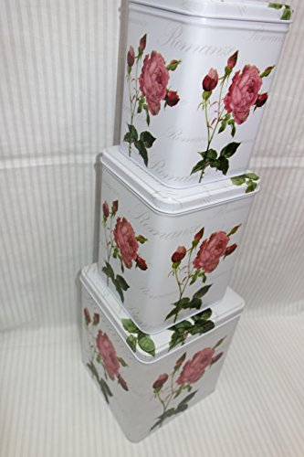 Country Cottage Empty Cookie Storage Tins, Shabby Chic, Square Shape with Rose Flower Patterns