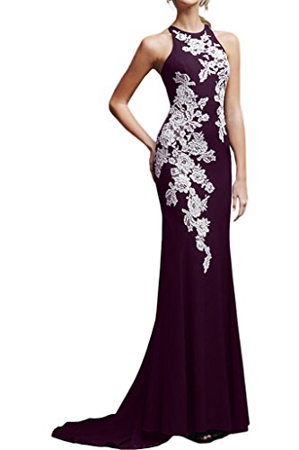 La Mariee Sexy Sheath Scoop Neck Empire Evening Ball Dress With Appliques New-26W-Grape