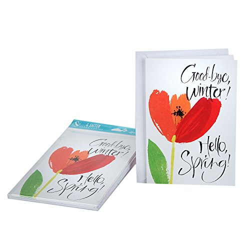 Hallmark Easter Greeting Cards (Red Tulip, 6 Cards and 6 Envelopes)