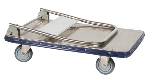 (Wesco Industrial Products 270457 Deluxe Series Stainless Steel Platform Truck with Folding Handle, Stainless Steel Rig, 440 Pound Capacity, 19