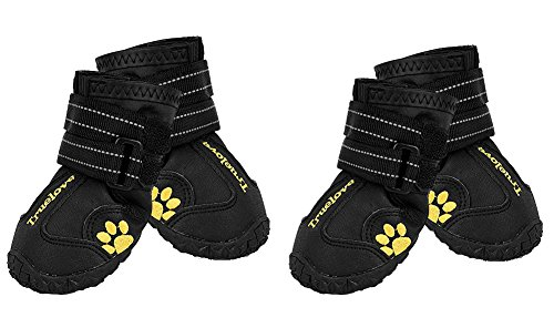EXPAWLORER Waterproof Dog Boots Reflective Non Slip Pet Booties for Medium Large Dogs Black 4 Pcs (Rubber Boots Dog)