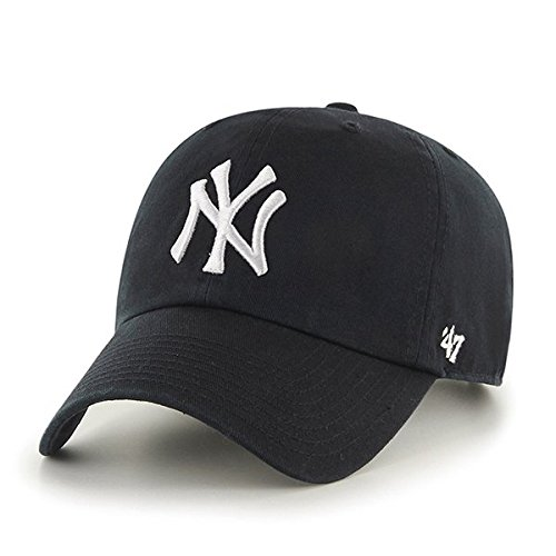 ('47 MLB New York Yankees Brand Clean Up Adjustable Cap, One Size, Black)