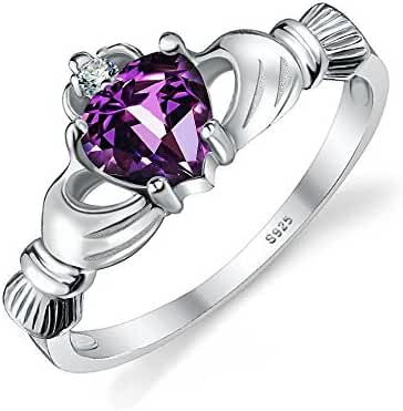 JewelryPalace Women's 925 Sterling Silver 0.5ct Natural Amethyst Claddagh 2 Stone Ring
