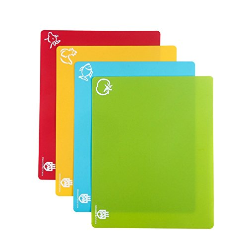 Flexible Chopping Board for Professional Chefs | Color coded & Extra Thick | Silicone Grip for anti-sliding | Anti-microbial- 99% Germ-resistant by Monster Kitchen