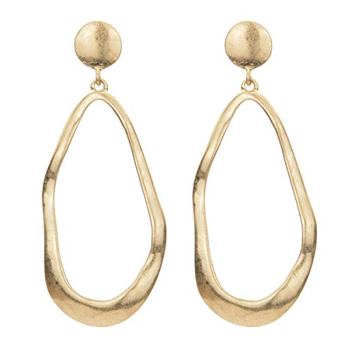 - Hammered Teardrop Ethnic Earrings Geometric Metal Gold Silver Statement Big Hoop Stud Earrings (gold)