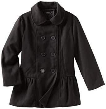 Amy Byer Big Girls'  Solid Double Breasted Coat, Black, Medium