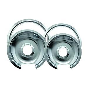 """Range Kleen Drip Pan & Trim Ring Chrome 1 Small/6"""" Pan & Ring and 1 Large/8"""" Pan & Ring - 4 Pack"""