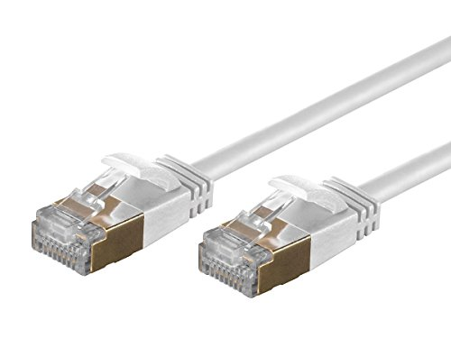 Monoprice SlimRun Cat6A Ethernet Patch Cable - Network Internet Cord - RJ45, Stranded, STP, Pure Bare Copper Wire, 36AWG, 30ft, White ()