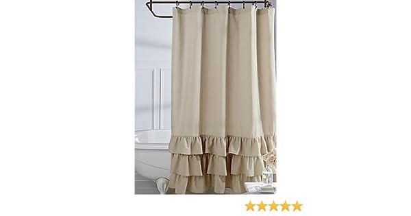 Amazon Veratex Vintage Ruffle Shower Curtain Linen 72x72 Home Kitchen