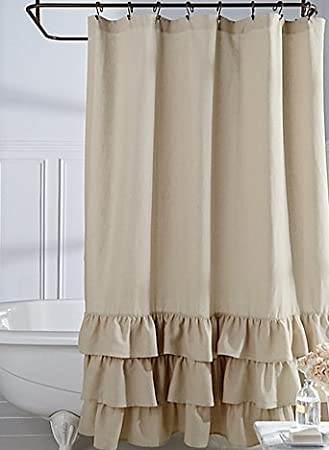 Veratex Vintage Ruffle Shower Curtain Linen 72quot