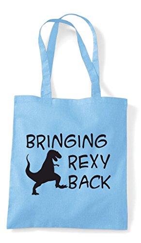 Parody Tyrannosaurus Funny Sky Blue Rexy Bringing T Tote Shopper Rex Back Bag I'm qxwTXgY0Z