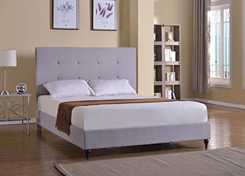 King Home Life Light Grey Headboard Platform Bed