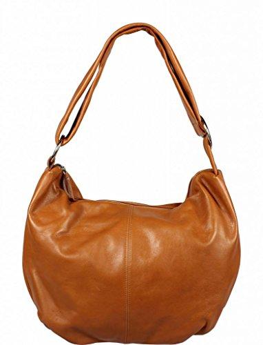 Schöne praktische Leder Camel Handtasche aus Leder Gondola Camel crossbody