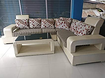 the best attitude 7dcb3 cc81c Best furnitures Neam Wood L Shape Sofa Set 3+2+Corner+Center Table for  Living and Dining Hall, Cream and Brown