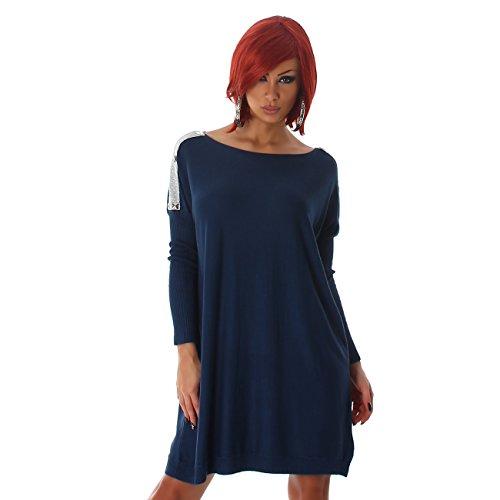 1e99c4b617844f ... Voyelles Pulloverkleid Pullover Fledermausärmel Petrol Longshirt Shirt  Longpulli Sweater Sweatshirt Langarm Carmen-ausschnitt Pulli Damen