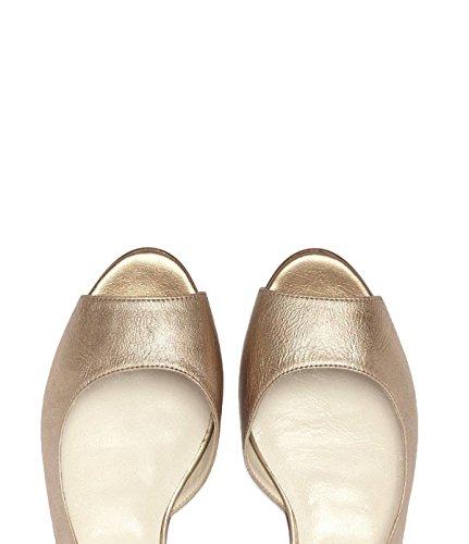 PoiLei Flache Damen Sandale Ballerina Peeptoe Claire Leder Gold