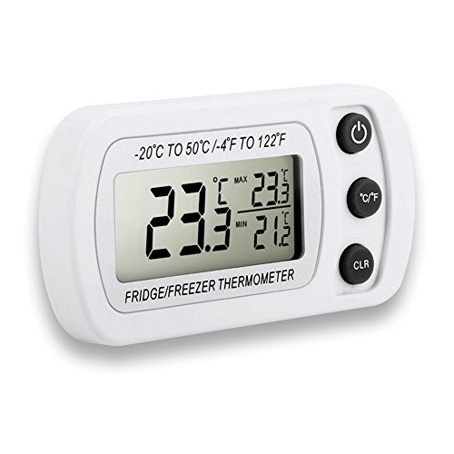 Dreamiracle Fridge Thermometer, Waterproof Digital Freezer Refrigerator Thermometer with LCD Display and Max/Min Function for Home Kitchen Restaurants Bars Cafes (White) by Dreamiracle