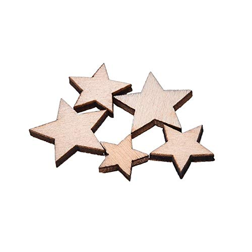 Bestchoice - 100Pcs Romatic Style Wood Star Chipboard Wooden Home Decorations DIY Christmas Party Scrapbooking Navidad (Home Chipboard)