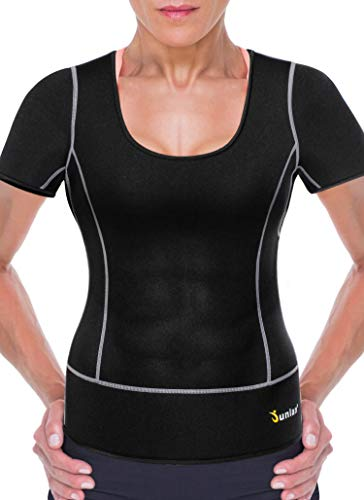 Women Sport Neoprene Sauna Weight Loss Athletic Short Shirts Yoga Clothes Quick Dry Fitness Gym Wear Running Workout Top (M (8-10), Sauna Shirt Black)