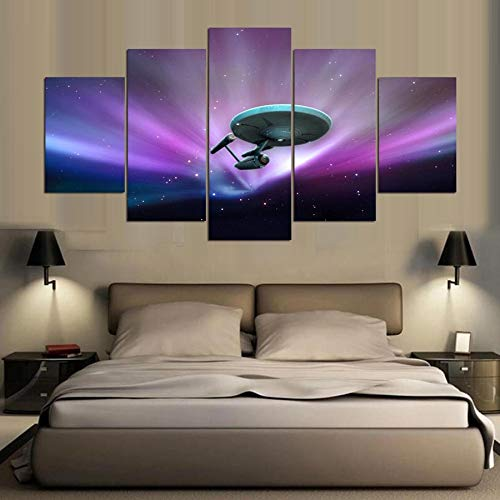 JFSJDF Wall Art Canvas Painting Style Frame 5 Panel Movie Star Trek Wall Pictures for Living Room Modern Decor Paintings,10x15x2 10x20x2 - Art Star Trek