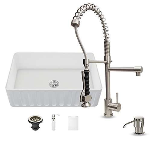 Stone Kitchen Farm Sink (VIGO 36 inch Farmhouse Apron Single Bowl Matte Stone Kitchen Sink and Zurich Stainless Steel Faucet Set)