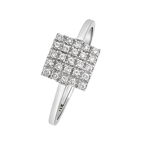 Square Shape Diamond Accented Ring - 5