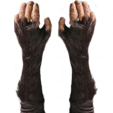 [Zagone Chimp Gloves, Tan Fingers, Black Faux Fur Black Glove] (Chimp Hands Costume)