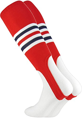 TCK Striped 7 Inch Baseball Softball Stirrups (Scarlet/White/Navy)
